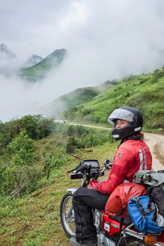 Elisa Wirkala riding a GL125