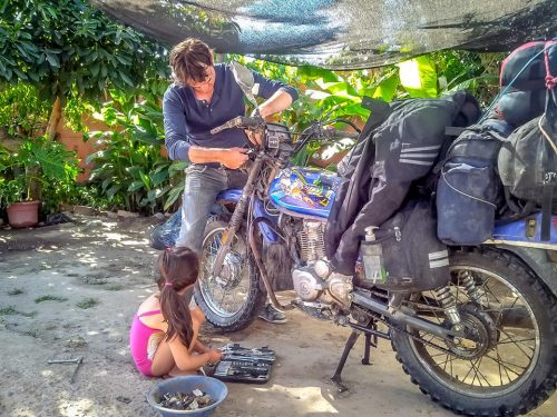 Franc and his daughter rescuing me and my small bike somewhere in Chile