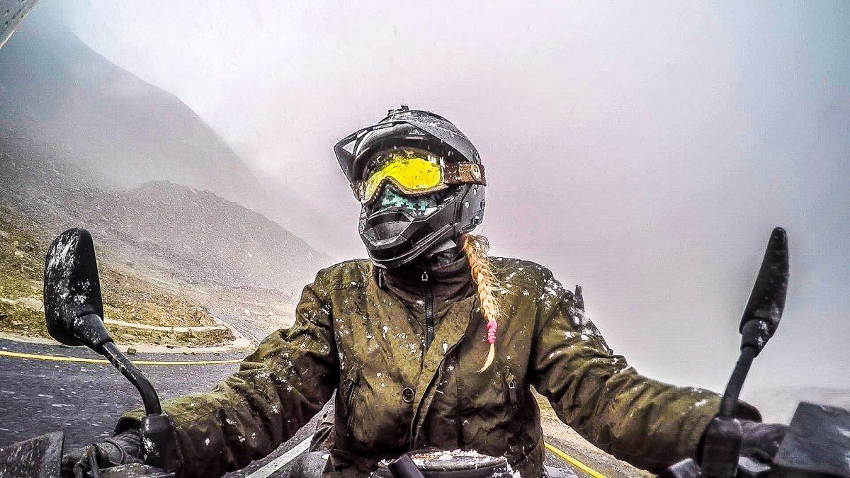 Nora is vlogging her experiences as she rides across Asia on her V-Strom.